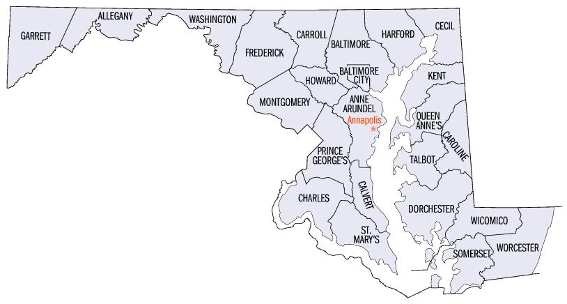 Map of Maryland Counties